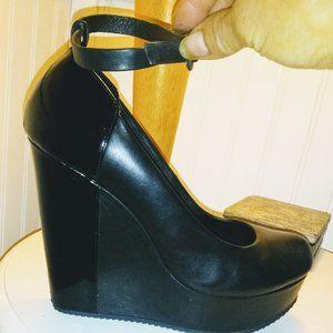 Aldo Black Leather Platform Wedge Mary Janes NWOT